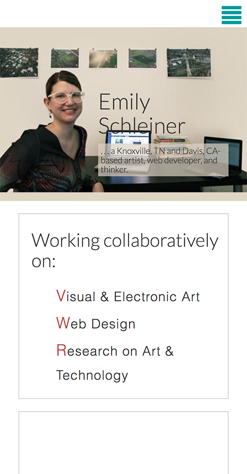 Emily Schleiner's Website mobile view